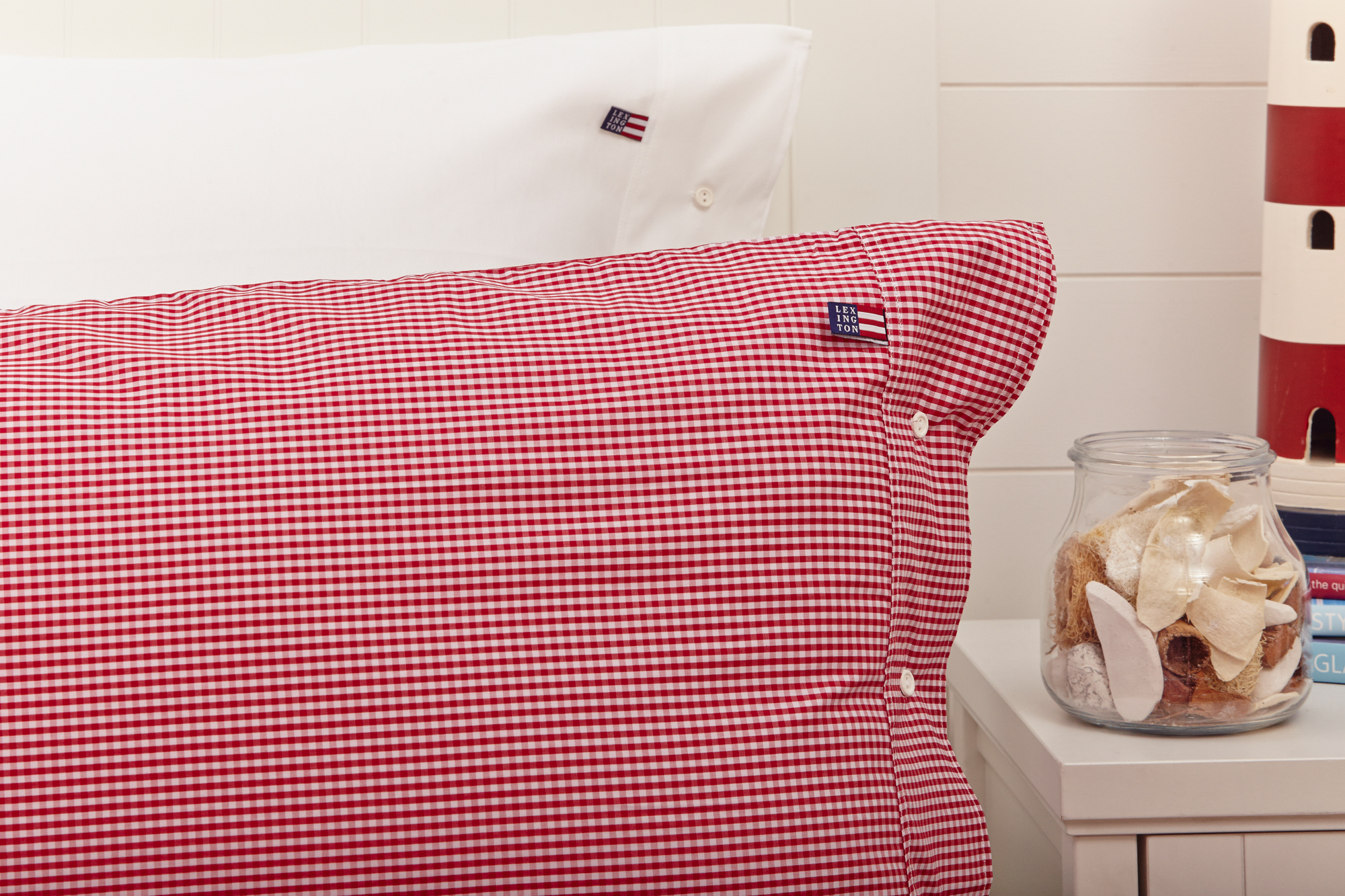 Icons Seaside Check Pillowcase, Red/White