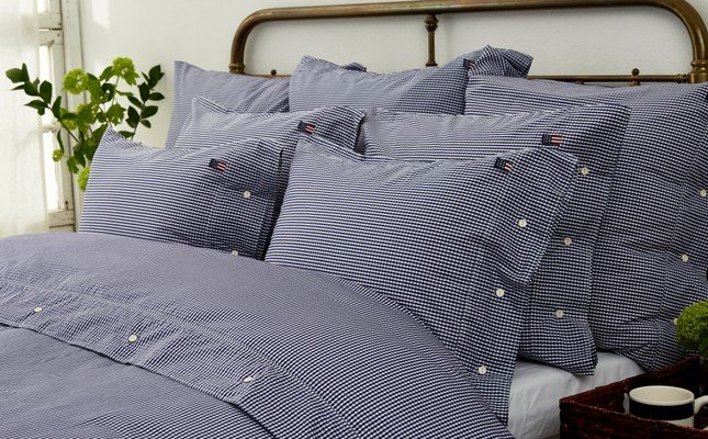 Icons Seaside Check Duvet, Navy/White