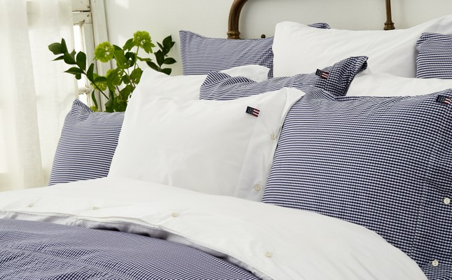 Icons Seaside Check Pillowcase, Navy/White