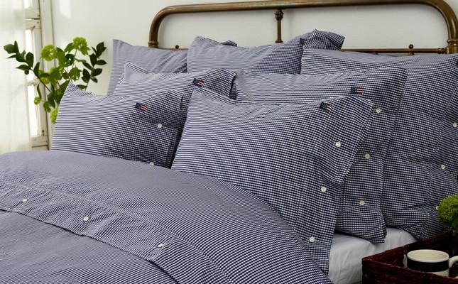 Icons Seaside Check Pillowcase, Navy/White