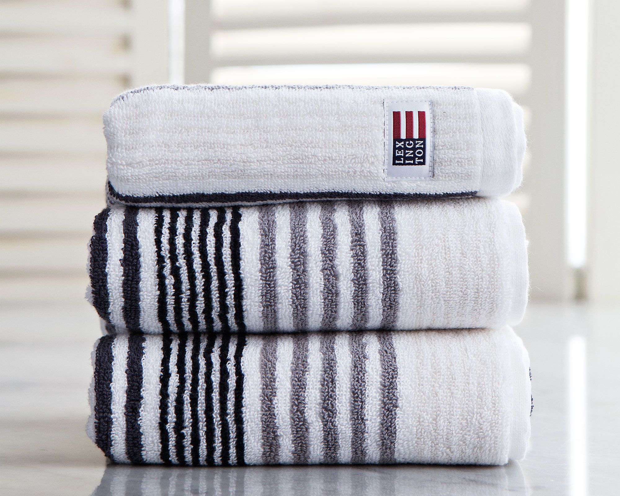 Original Striped Hand Towel Gray