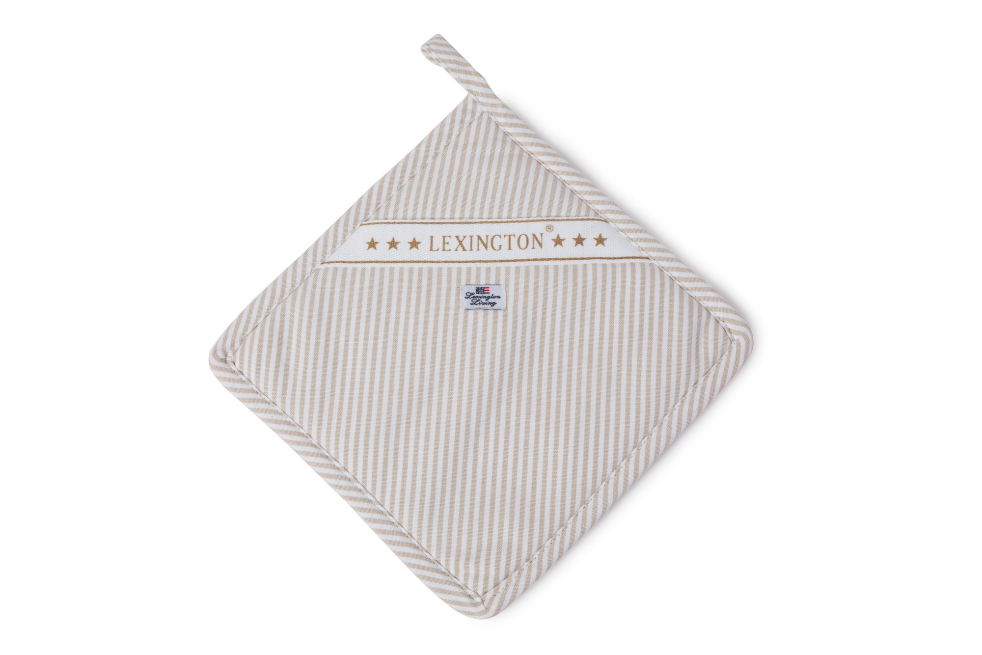 Oxford Beige/White Striped Potholder
