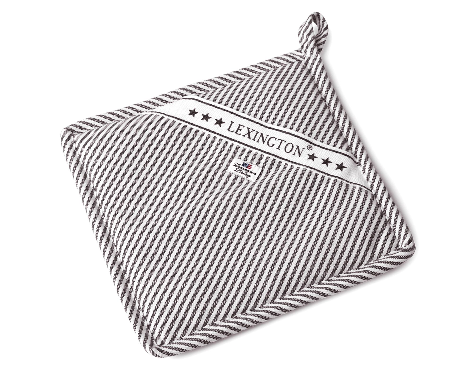 Icons Oxford Dark Gray/White Striped Potholder