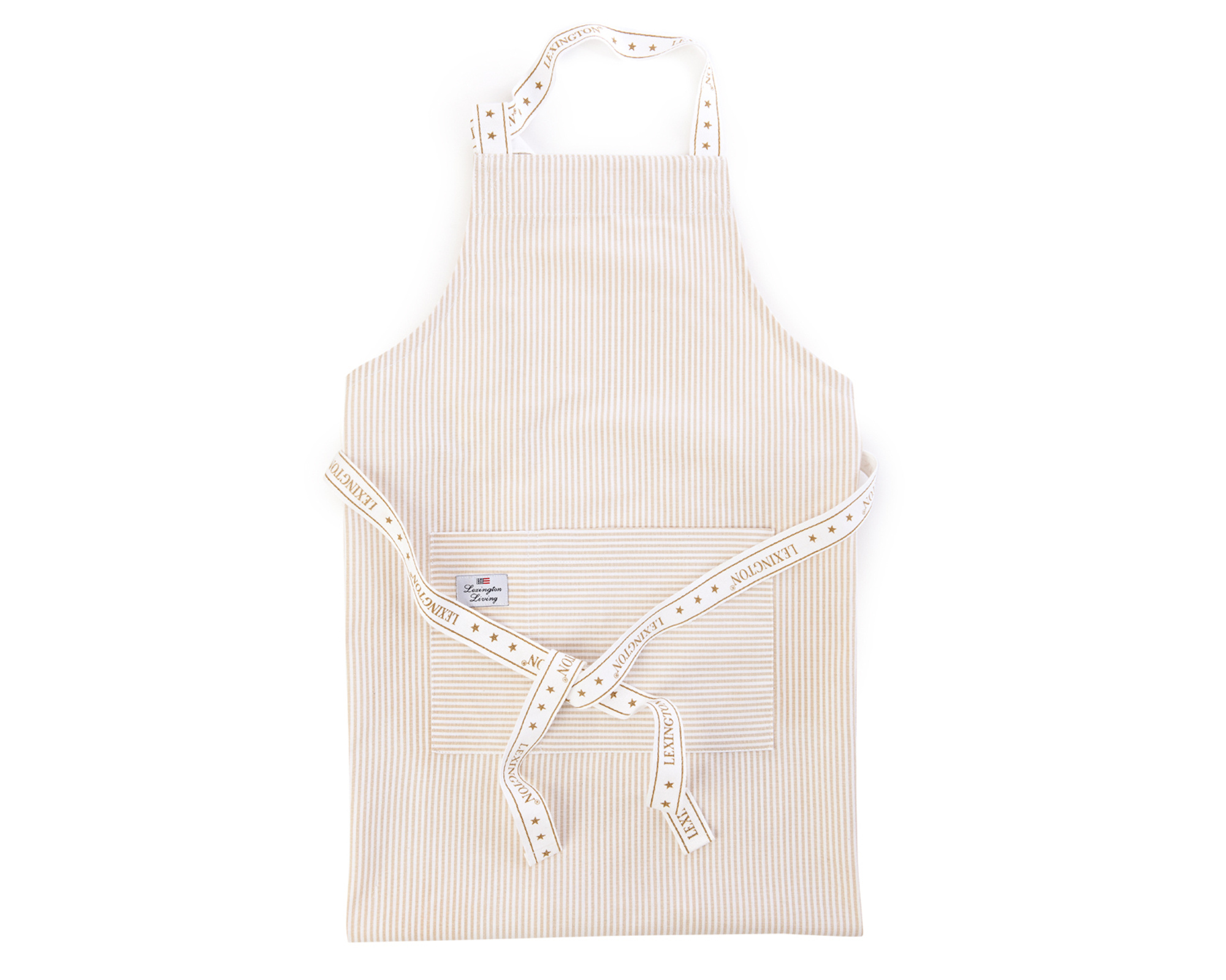 Oxford Beige/White Striped Apron