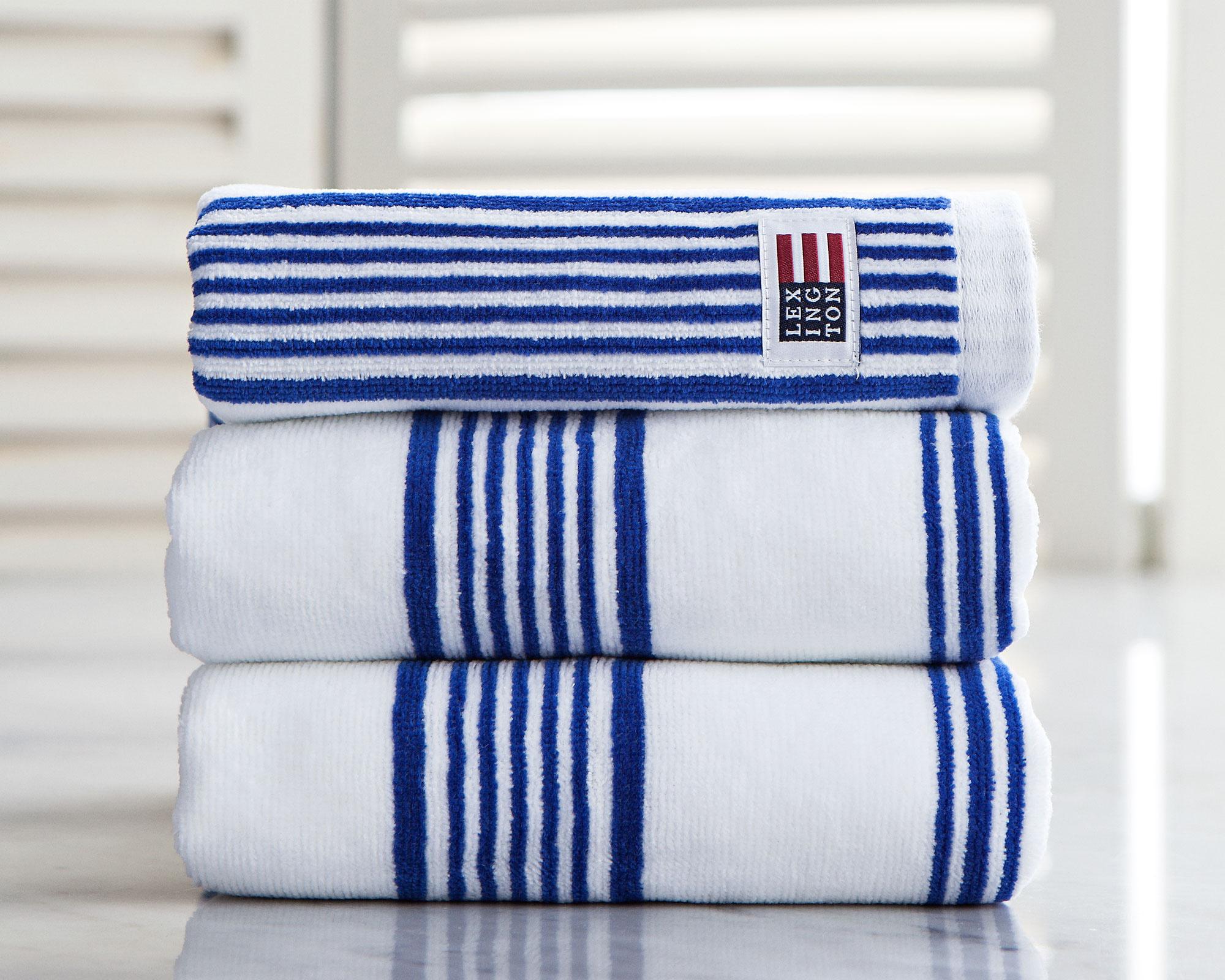 Striped Velour Hand Towel White