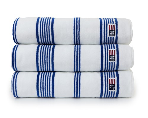 Striped Velour Towel White/Mazarine Blue