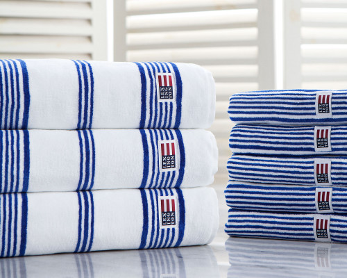 Striped Velour Bath Towel White