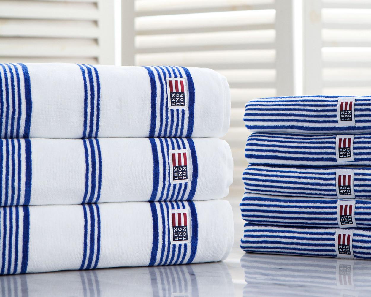 Striped Velour Bath Towel White