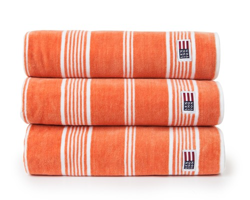 Striped Velour Towel Soft Orange/White
