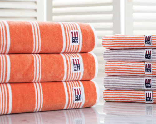 Striped Velour Bath Towel Soft Orange