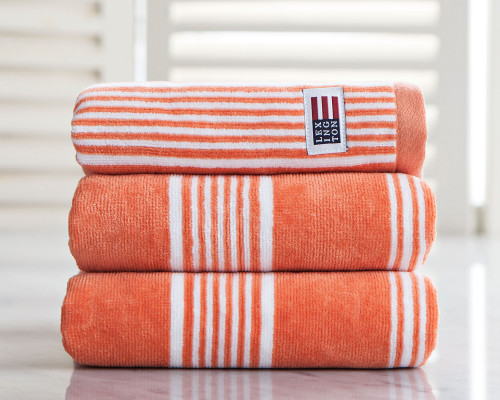 Striped Velour Hand Towel Soft Orange