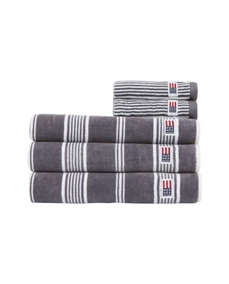 Striped Velour Towel Charcoal/White