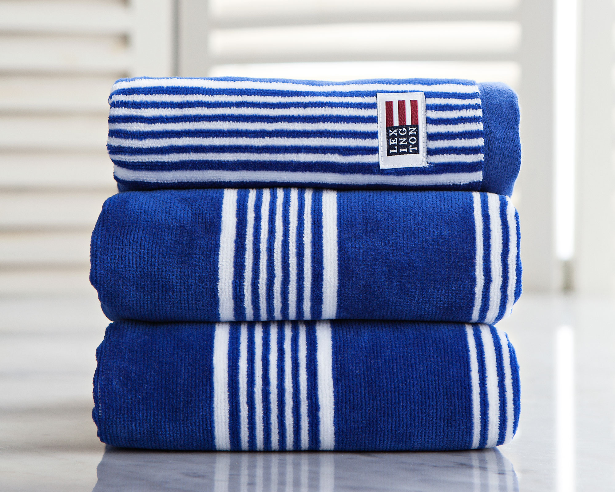 Striped Velour Hand Towel Mazarine Blue