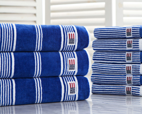 Striped Velour Bath Towel Mazarine Blue