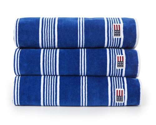 Striped Velour Towel Mazarine Blue/White