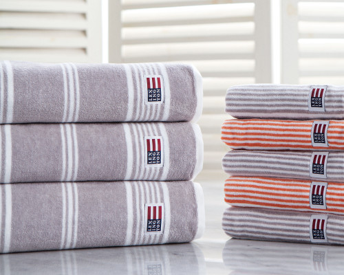 Striped Velour Bath Towel Gray