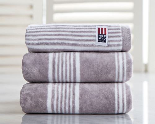 Striped Velour Hand Towel Gray