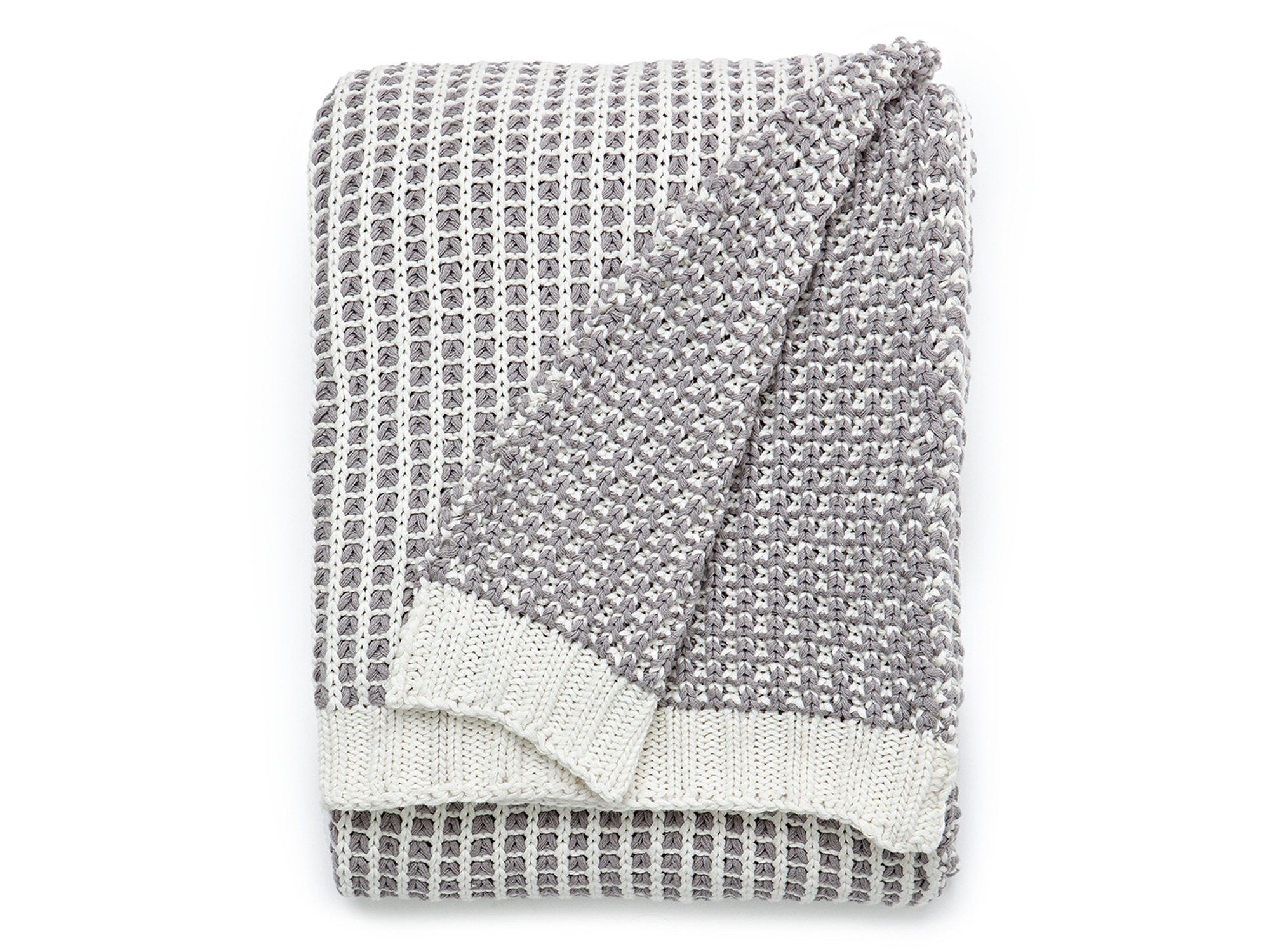 Knitted Throw, White/Gray