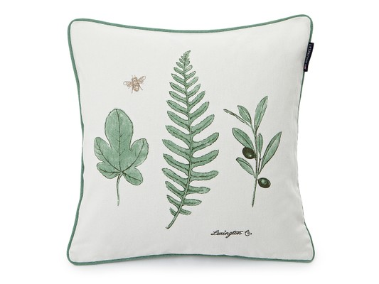 Green Leaf Sham, White/Green