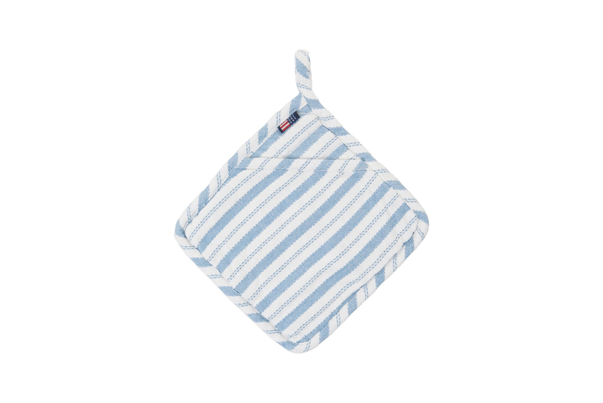Striped Potholder, White/Blue