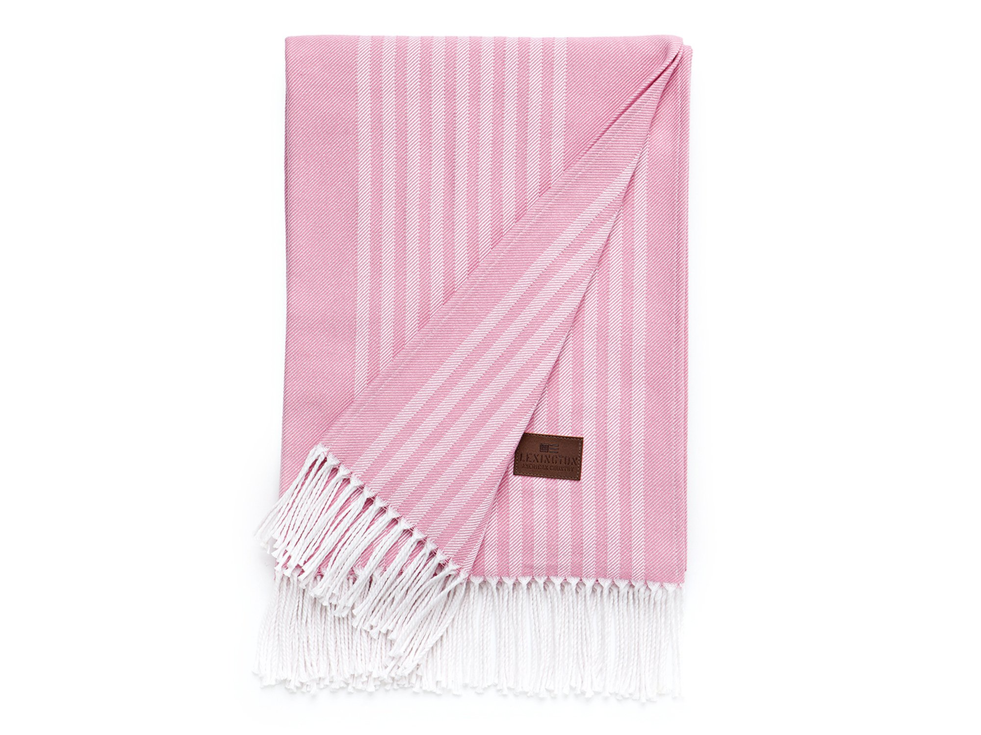 Striped Cotton Throw, Pink