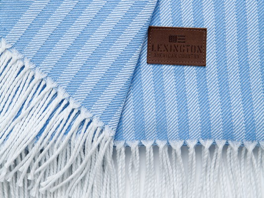 Striped Cotton Throw, Blue