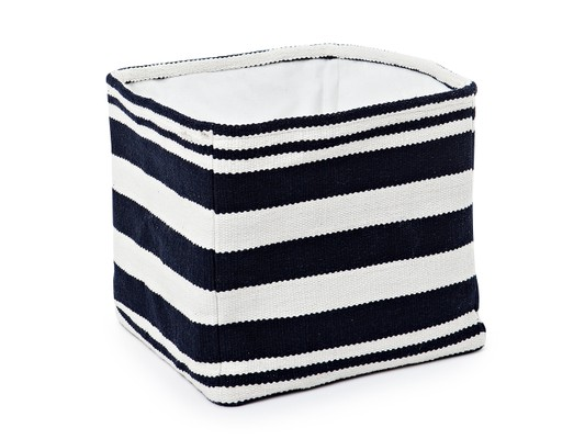 Striped Cotton Basket, Blue/White