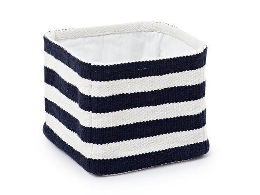 Block Striped Cotton Basket, Blue/White