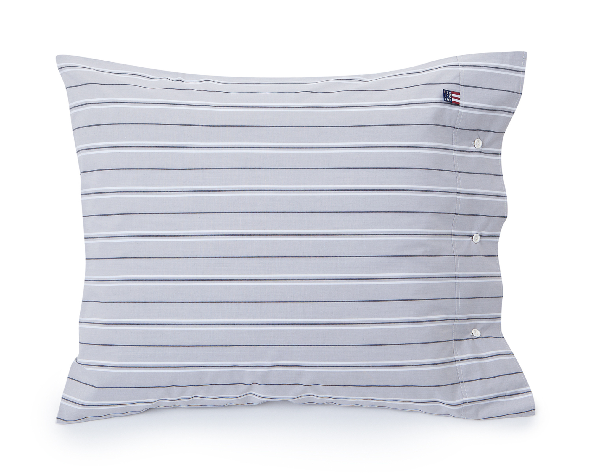 Gray Poplin Stripe Pillowcase