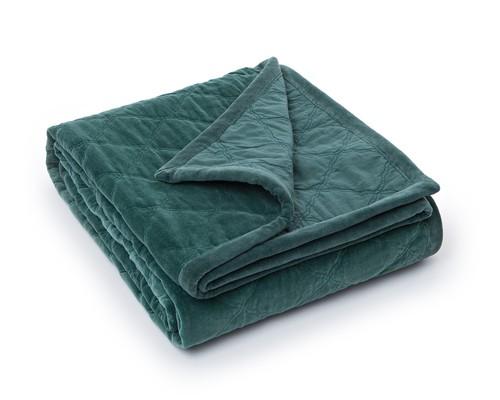 Quilt Velvet Bedspread Green