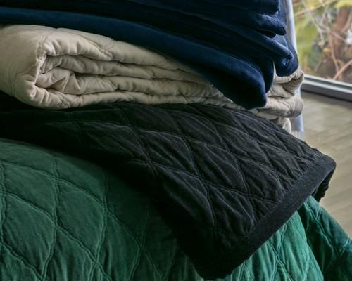 Quilt Velvet Bedspread Creme