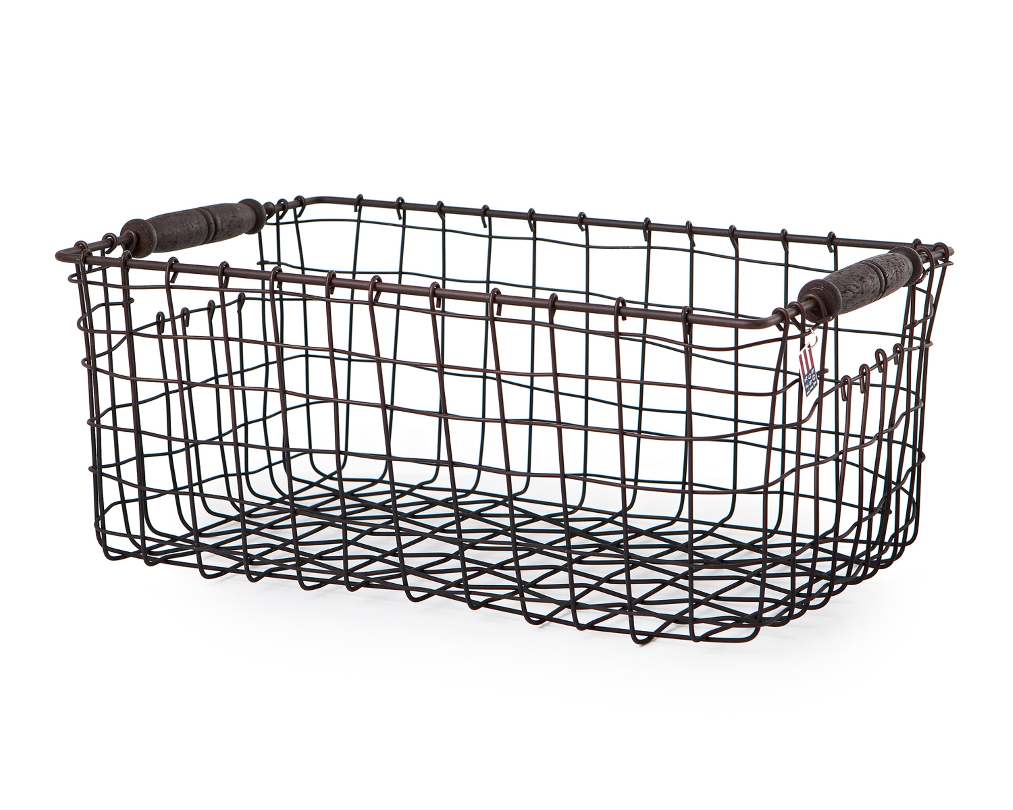 Wire Basket with Wooden Handle, Medium