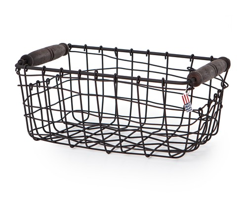 Wire Basket with Wooden Handle, Small