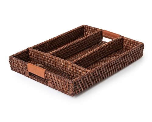 Rattan Flatware Organizer with Leather