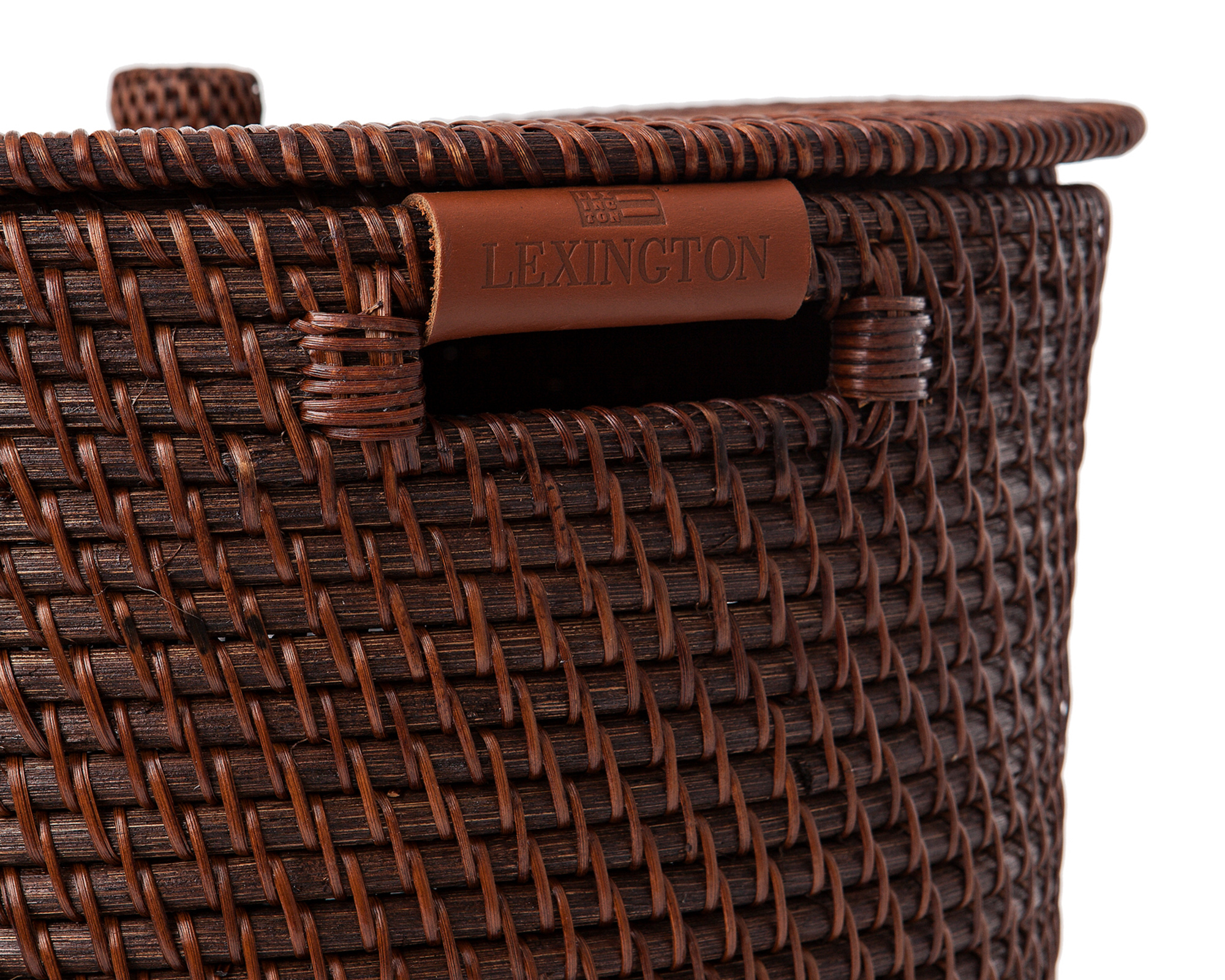 Rattan Basket with Lid and Leather