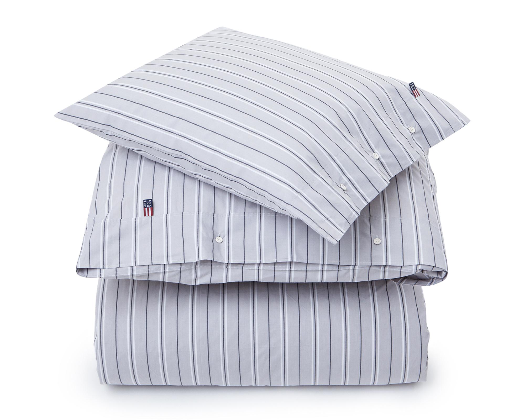 Gray Poplin Stripe Flat Sheet