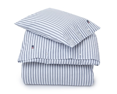 Blue Poplin Stripe Flat Sheet