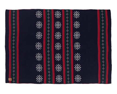 Holiday Knitted Throw, Blue Multi