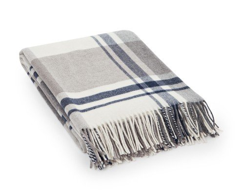 Checked Wool Throw, Beige/Gray