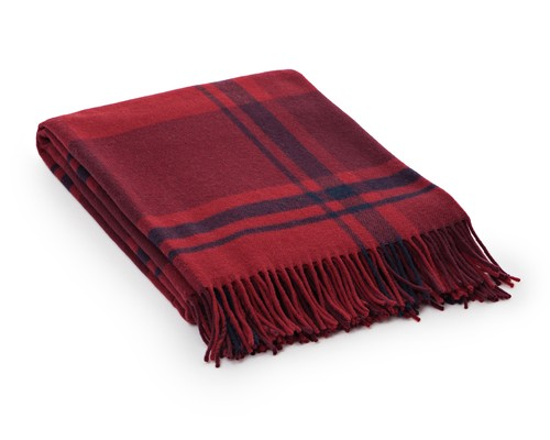 Checked Wool Throw, Red Multi