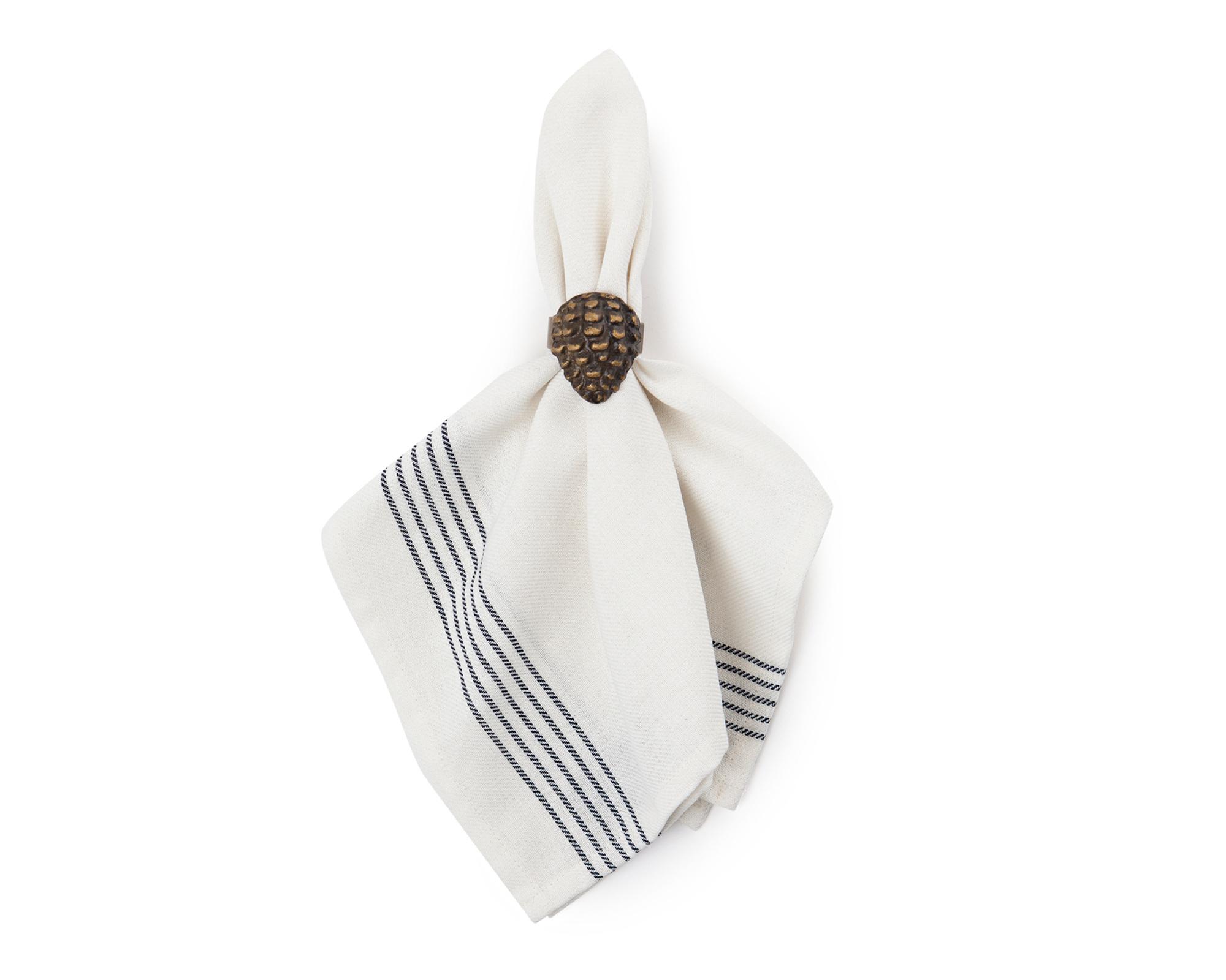 Napkin with Stripes, White
