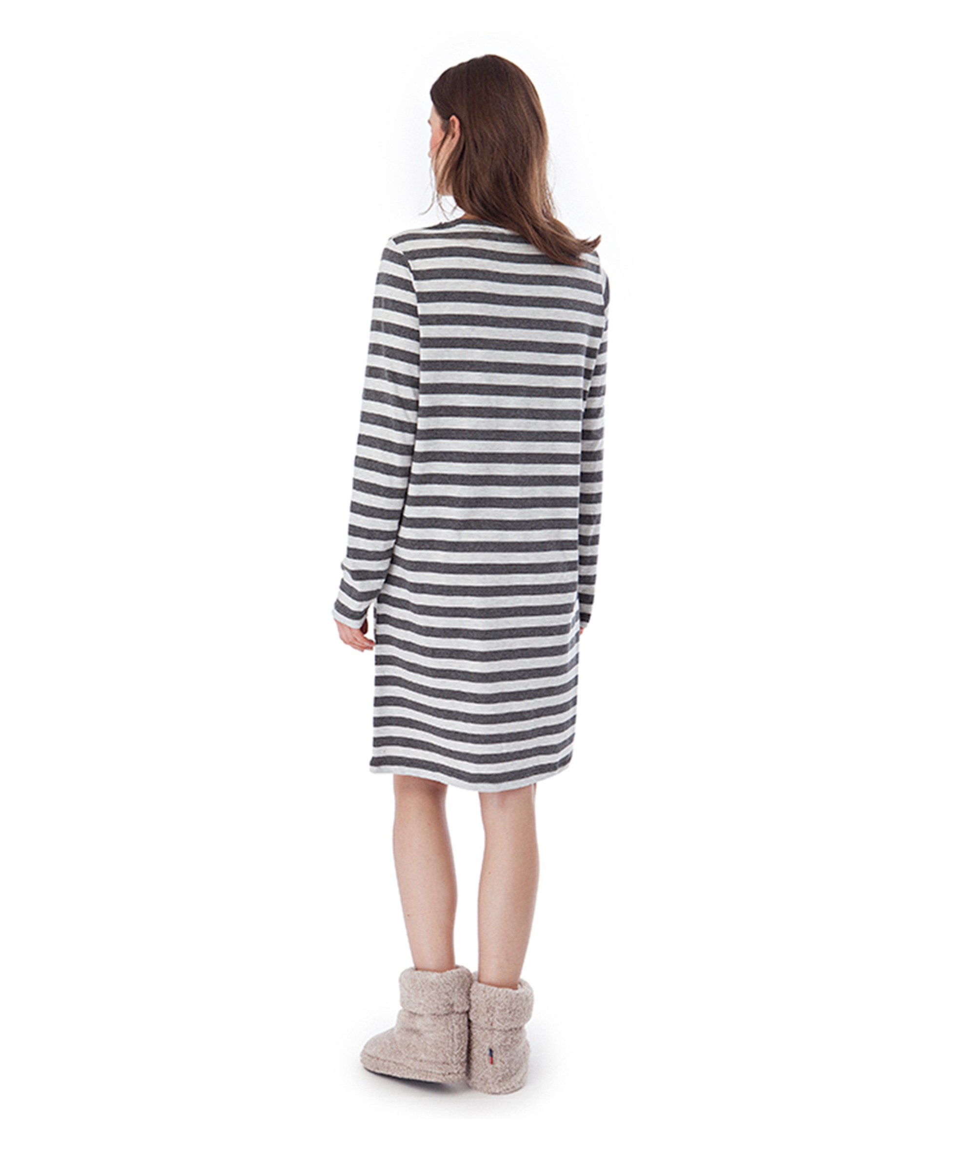 Rosy Nightgown, Gray Stripe