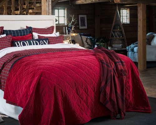 Quilted Velvet Bedspread, Red