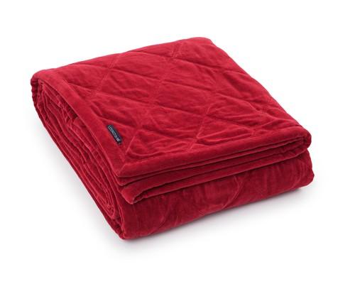 Quilted Velvet Bedspread, Red