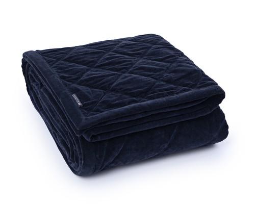 Quilted Velvet Bedspread, Blue
