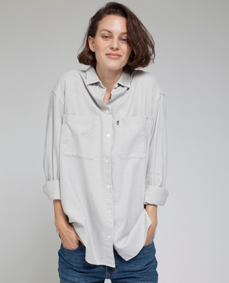 Zaira Flannel Shirt, Light Warm Gray