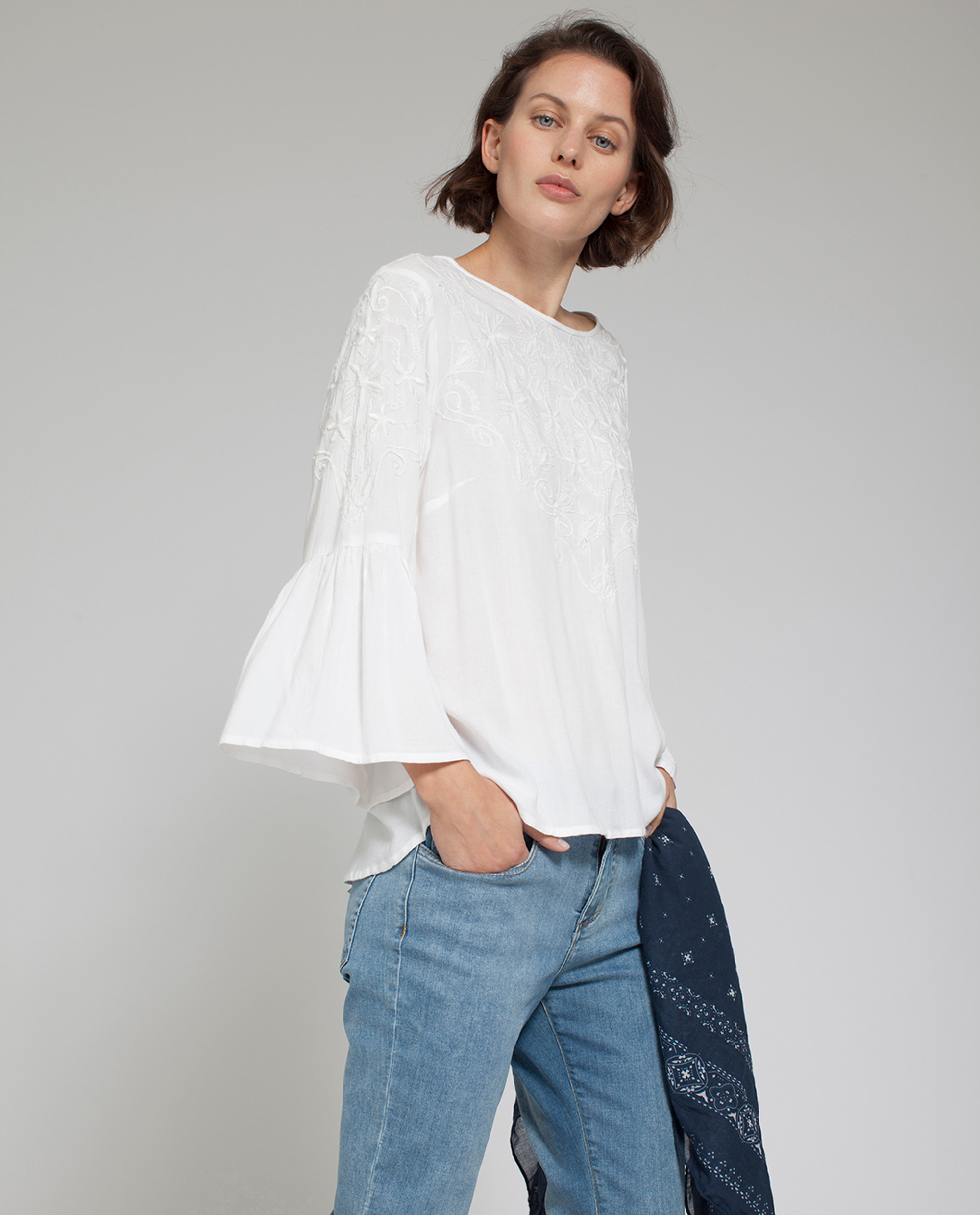 Heidi Embroidered Blouse, Snow White