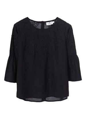 Heidi Embroidered Blouse, Caviar Black