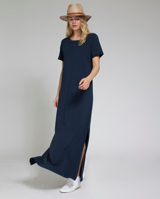 Elana Long Dress, Deep Marine Blue