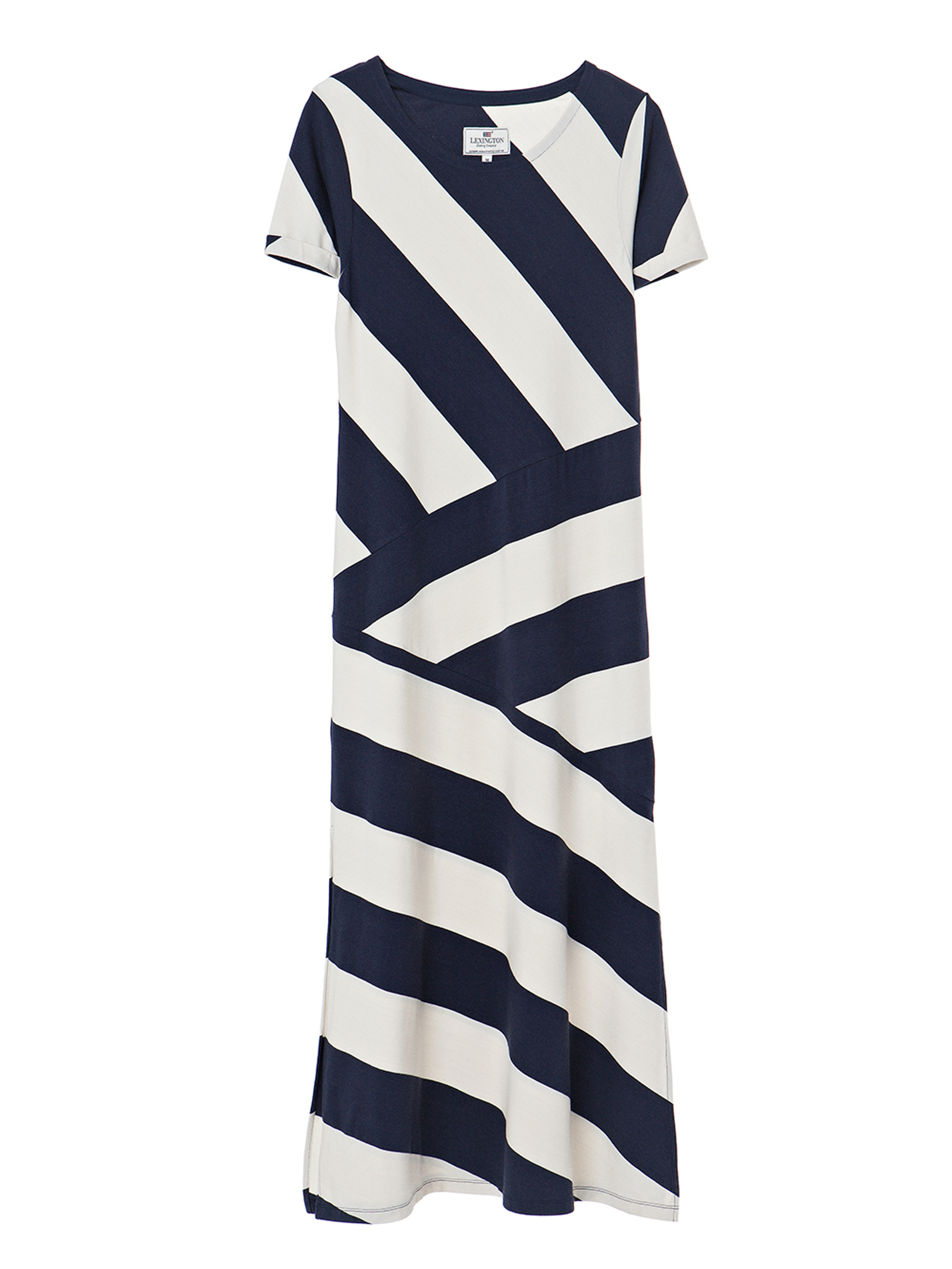 Elana Long Dress, Blue/White